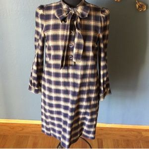 DKNY Wool Plaid Shift Dress with Pussy Bow